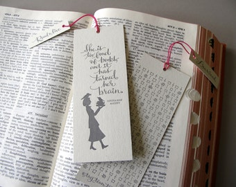 Louisa May Alcott LETTERPRESS BOOKMARK - She is too fond of books and it has turned her brain.