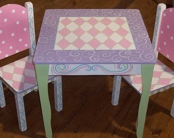 Wooden Childrens, Desks, Table and Chair Set, Pink Lavender Green, Tea Party, Chairs, Custom
