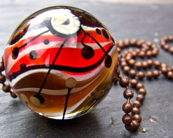 Magic Marble Earth and Fire - Handmade Lampwork Bead by Anne Schelling, SRA