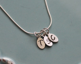 Initial Necklace, Personalized Hand Stamped Sterling Silver-Tiny Oval initial Necklace, Tiny Charm Necklace
