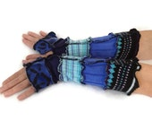 Unique Arm Warmers  Blues & Black - Fingerless Gloves - Upcycled Colorful Warm