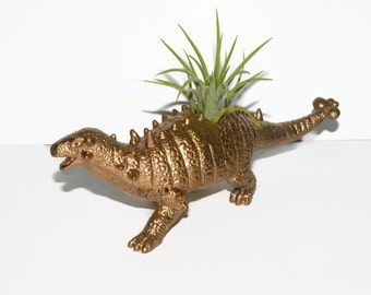 Dinosaur planter in bright gold with air plant.