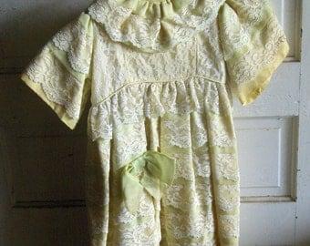 Vintage Antique Dress. Satin and Lace Lemon Lime