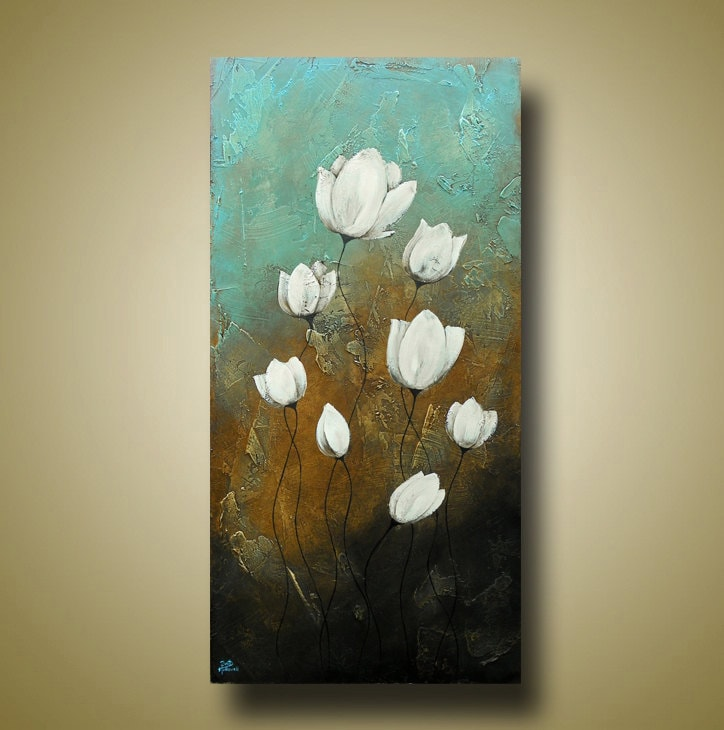 Abstract Flower Painting Original Art With Texture Lotus