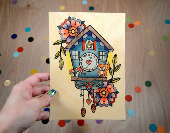 vintage inspired cuckoo clock / high quality art print on wooden paper / art home decor