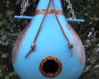 Native American Desert Blue and Feathers  Birdhouse Gourd