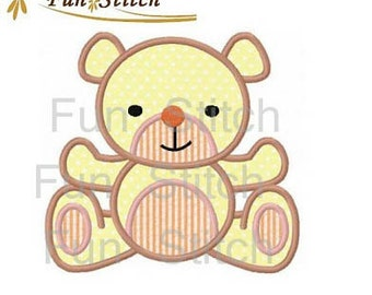 Teddy bear applique machine embroidery design