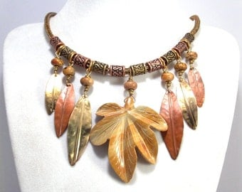 Fold Formed Necklace with Hand Woven Viking Knit Chain Copper Leaves Mixed Metal Jewelry