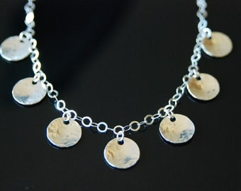 Sterling Silver Hammered Seven Disc Necklace