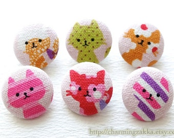 Fabric Covered Buttons (M) - Lovely Floral Rainbow Stripe Dots Lace Cat Cats Kitty Collection(6Pcs, 0.75 Inch)