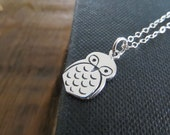 Owl necklace, sterling silver Owl charm, whimsical, woodland, 925