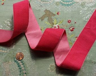 "1 yard antique silk velvet ribbon 1 9/16""  rich pink shade ribbonwork dress millinery hat trim flapper edwardian"
