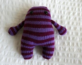Hand Knit Purple Striped monster