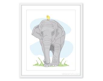 Elephant Art Print - Elephant Nursery Wall Art - Grey and Yellow Decor