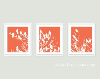 Birds on Tree Art Print Set - Wall Art Triptych Trio - Coral and White - Modern Home Decor - Woodland Spring Birds