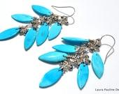 LP 1005   Sleeping Beauty Turquoise And Pyrite Nugget OOAK Earrings