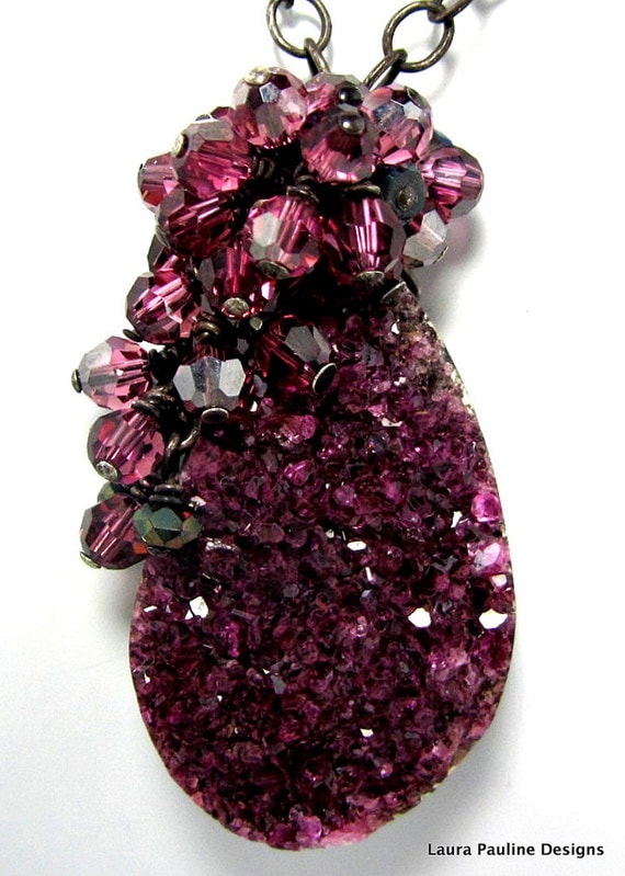 """LP 203  Deep Pink Cobalto Calcite Drusy Pendant    """"One Of A Kind Necklace"""""""