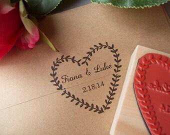 Custom Wedding Stamp - Laurel Wreath Names and Date - DIY Handmade Wedding Save the Dates Invitations