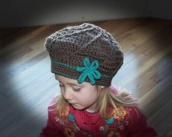 Twist Beret Hat pdf PATTERN (digital download), crochet, cloche, beanie, tam, newborn to adult, photo prop, girl