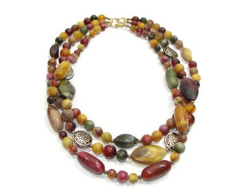 Vintage Multi Color Three Strand Beaded Necklace