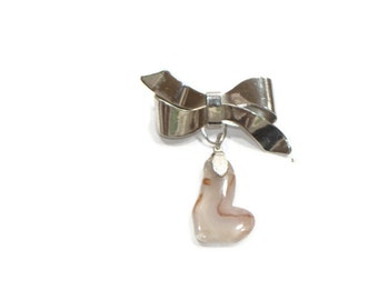 Vintage Silver Bow tie Brooch with Stone Pendant