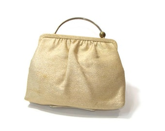 Vintage Gold Fabric Bag with Slide button closure