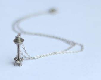 Space Needle Necklace, Silver