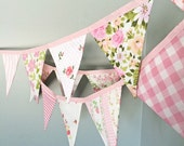 Sweet Pink Bunting / Pink Decoration / Baby Girl Nursery / Bridal Shower Decor / Pink Party / Garden Tea Party / Baby Shower Decoration