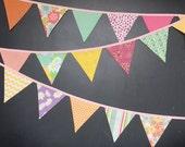Springtime Easter Fabric Bunting Banner Decoration / Pennant Flag Garland / Garden Tea Party