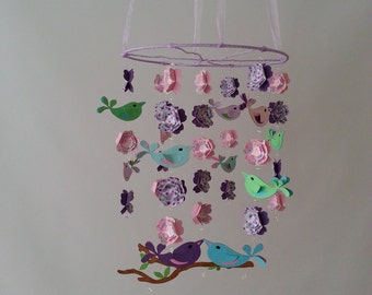 Love Bird Baby Mobile in Pink and Purple Turquoise Green