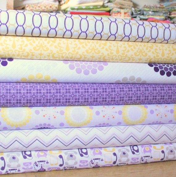 Purple Yellow and Gray Floral Geometric Fabric, Ashbury Heights By Doohikey Designs For Riley Blake, 1 Yard Bundle, 7 Prints, 7 Yards Total