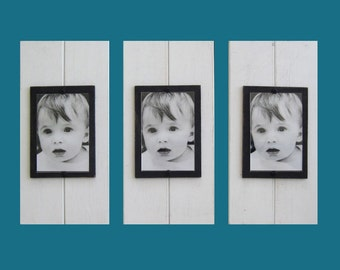 Set of Three White Plank Frames for 4X6 Pictures