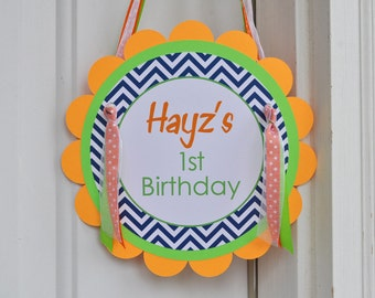 Boys Birthday Door Sign, 1st Birthday Party, Welcome Sign - Chevron Birthday Decorations with Polkadots - Navy Blue, Orange and Green
