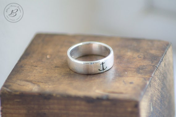anchor ring sterling silver hand stamped by betsy farmer. Black Bedroom Furniture Sets. Home Design Ideas