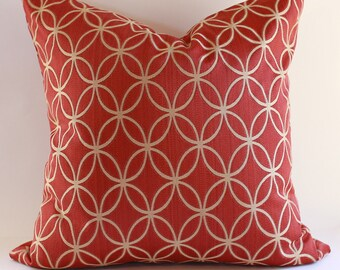 Geometric Pillow Cover/  Cranberry  Red & Tan / Select size during checkout