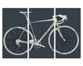 Seattle Street Map Road / Racer Bicycle Triptych Canvas Giclee - Dark Gray