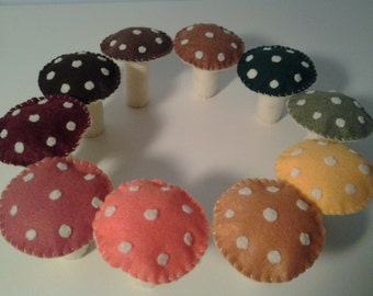 Autumn Felt Mushrooms in 10 Fall Colors