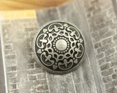 Metal Buttons - Medieval Filigree Metal Buttons , Antique Silver Color , Domed , Openwork , Shank , 1.08 inch , 6 pcs