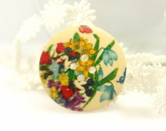 Wooden Buttons With Colorful Orchid Flowers Picture  1.18 inch. 6 in a set