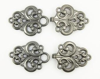 HOOK And EYE Fasteners - Stunning Gunmetal Openwork Baroque Swirl Cloak Clasp Fasteners. 2 Pairs. RARE