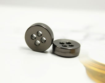 Metal Buttons - Thick Pearlized Gunmetal Buttons , 4 Holes , 0.43 inch , 10 pcs