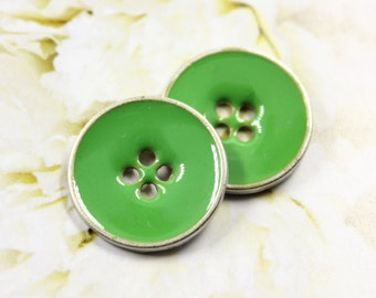 Metal Buttons - Apple Green Enamel Metal Buttons , Silver Basw , Hole , 0.75 inch , 10 pcs