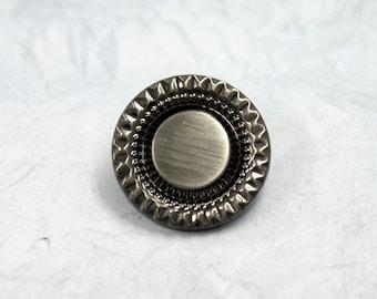 Metal Buttons - Crown Gear Metal Buttons , Shiny Gunmetal Color , Shank , 0.71 inch , 6 pcs