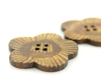 Wooden Buttons - Beautiful Plum Blossom Natural Wood Buttons, 1.58 inch (6 in a set)