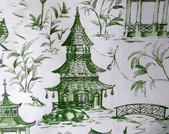 PAGODAS JADE green designer, drapery/bedding/upholstery fabric