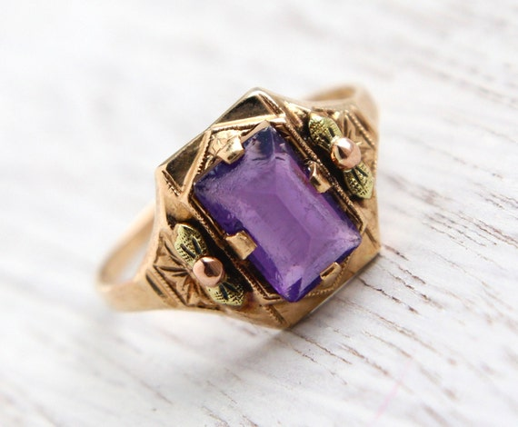 SALE - Antique 10k Yellow & Rose Gold Amethyst Ring - Art Deco Size 6 3/4 Purple Amethyst Signed BDA Fine Jewelry / 1.55 Carat Gemstone