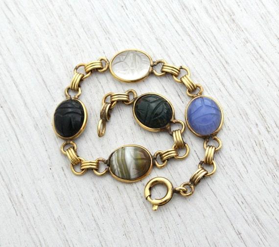 Vintage Scarab Bracelet - 12K Gold Filled Semi Precious Stone Egyptian Revival Jewelry Signed Admark - Quartz, Onyx, Bloodstone / Beetles