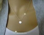 Cross Sideways Initial Necklace - Cross Charm Necklace - Silver Cross - Personalize - Sideways Cross - Birthday Gift - Faith Charm