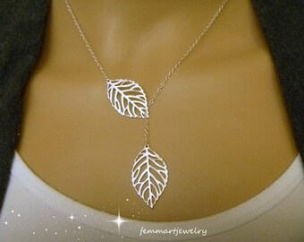 Leaf Lariat Necklace  - Leaf Necklace - Simple -Modern - Bridesmaid gift - Branch Necklace
