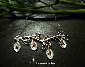 Initial Necklace - Four Leaf Initial - Personalized Tree Branch - Silver - Mommy Jewelry - Nana Necklace - Grammie Necklace - femmart
